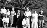 Fullerton College Geology Club Scrapbook: Mabel A. Myers and students at mines at Pala