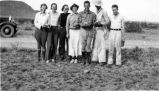 Fullerton College Geology Club Scrapbook: Geology Club members with 3 Agassiz tortoises, 1935