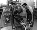 Ray Hernandez Works with a Milling Machine, 1973